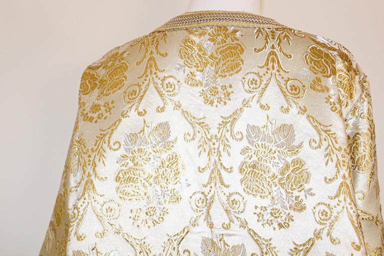 Moroccan Vintage Caftan in Gold Metallic Brocade, Maxi Gown Dress Kaftan For Sale 12