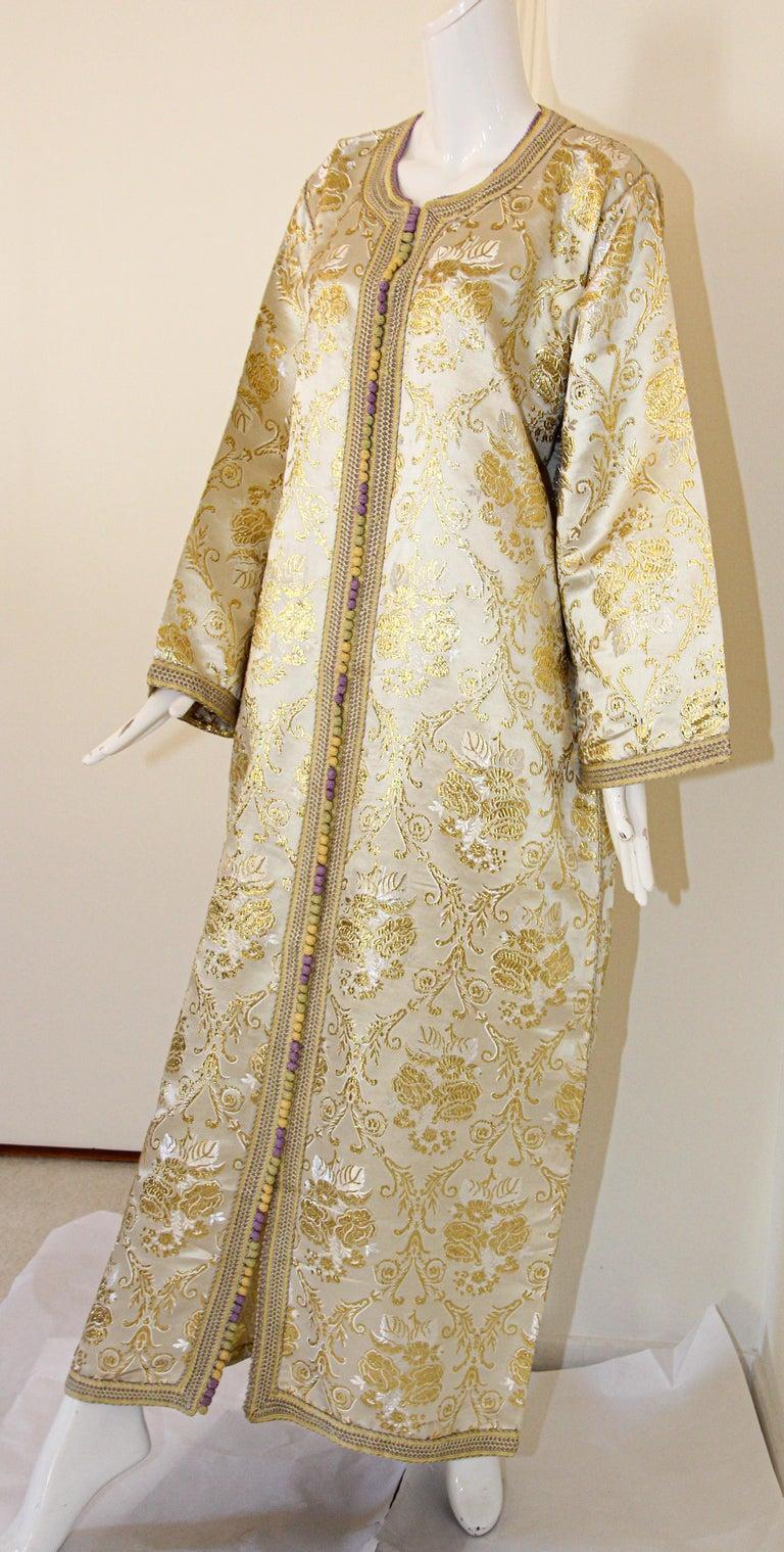 Moorish Moroccan Vintage Caftan in Gold Metallic Brocade, Maxi Gown Dress Kaftan For Sale