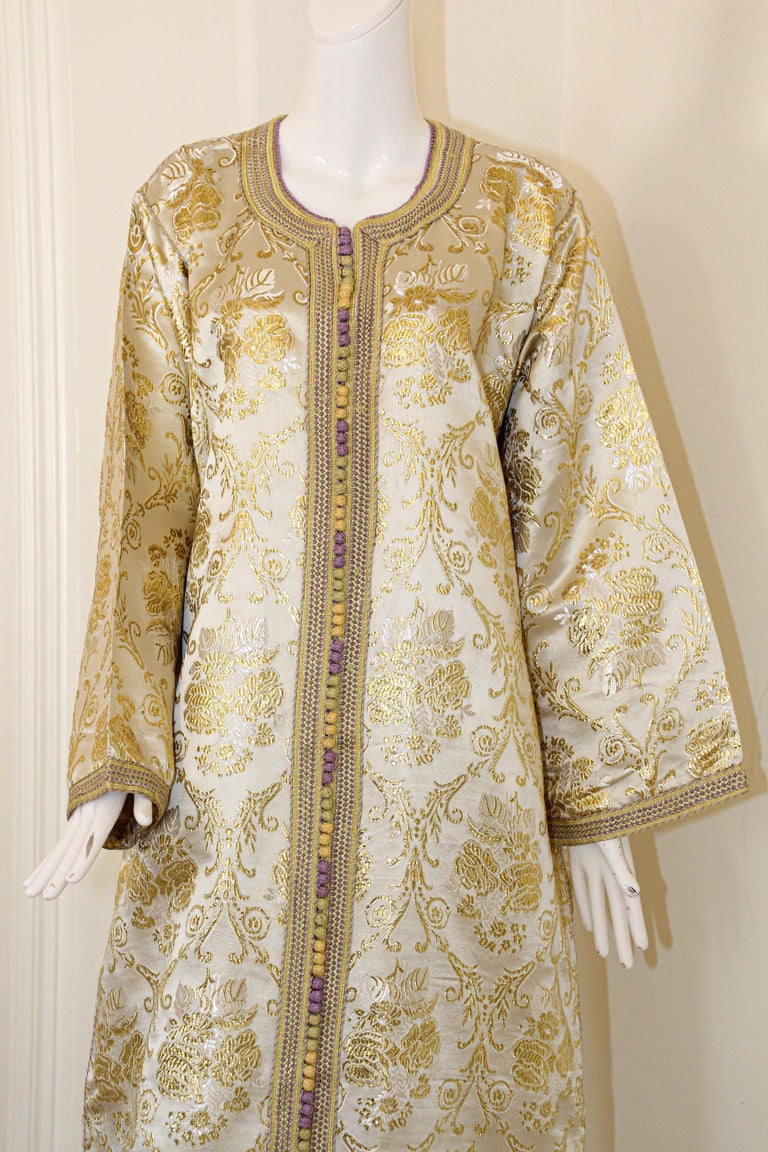 Hand-Crafted Moroccan Vintage Caftan in Gold Metallic Brocade, Maxi Gown Dress Kaftan For Sale