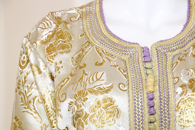 20th Century Moroccan Vintage Caftan in Gold Metallic Brocade, Maxi Gown Dress Kaftan For Sale