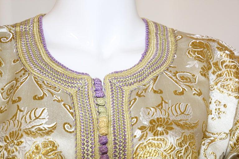 Moroccan Vintage Caftan in Gold Metallic Brocade, Maxi Gown Dress Kaftan For Sale 1