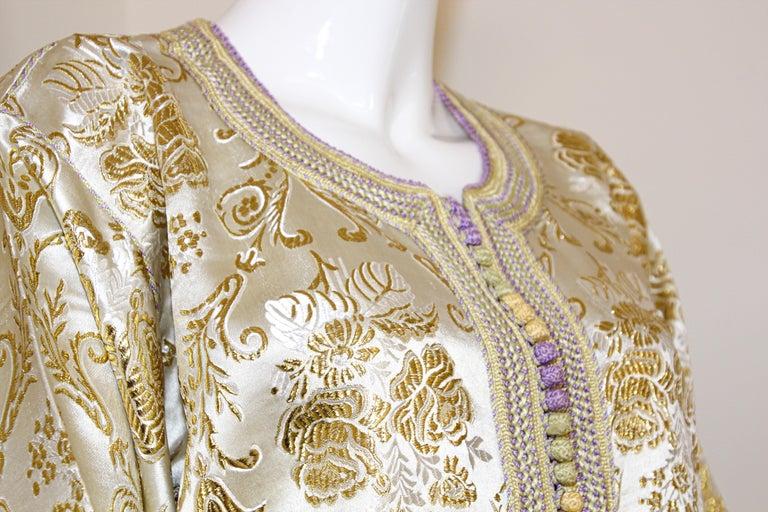 Moroccan Vintage Caftan in Gold Metallic Brocade, Maxi Gown Dress Kaftan For Sale 2