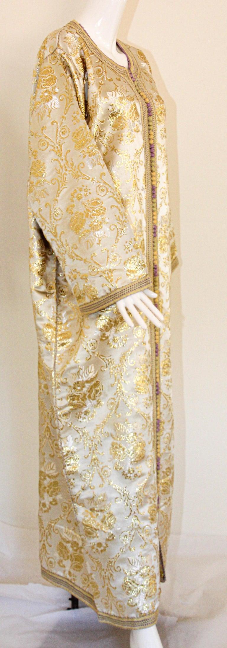 Moroccan Vintage Caftan in Gold Metallic Brocade, Maxi Gown Dress Kaftan For Sale 3