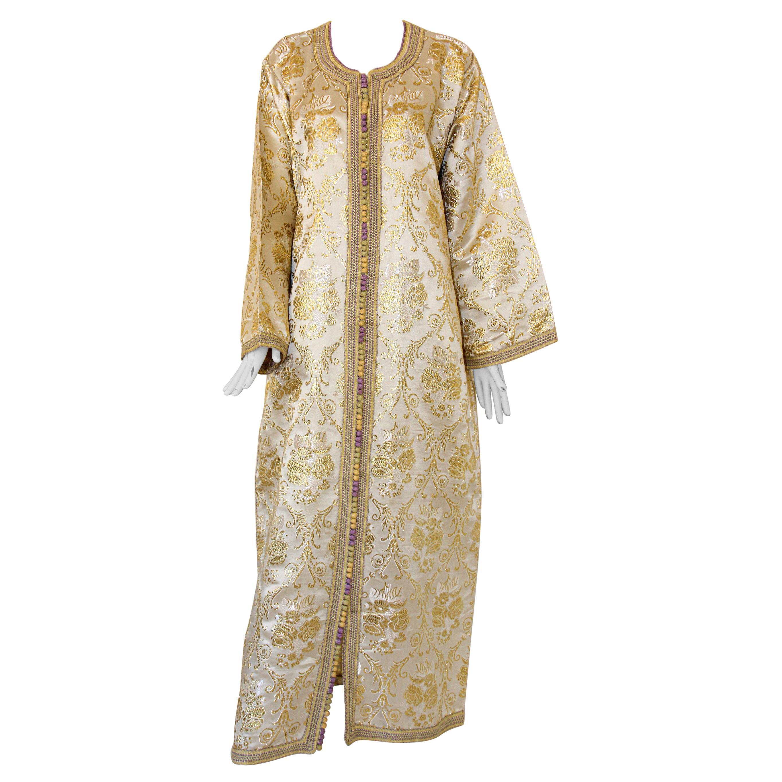 Moroccan Vintage Caftan in Gold Metallic Brocade, Maxi Gown Dress Kaftan