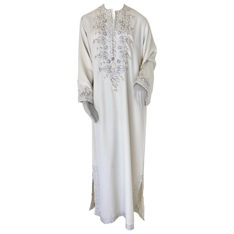 Moroccan Vintage Caftan White 1970s Kaftan Maxi Dress