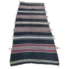 Moroccan Vintage Flat-Weave Black Camel Hair Tribal Rug