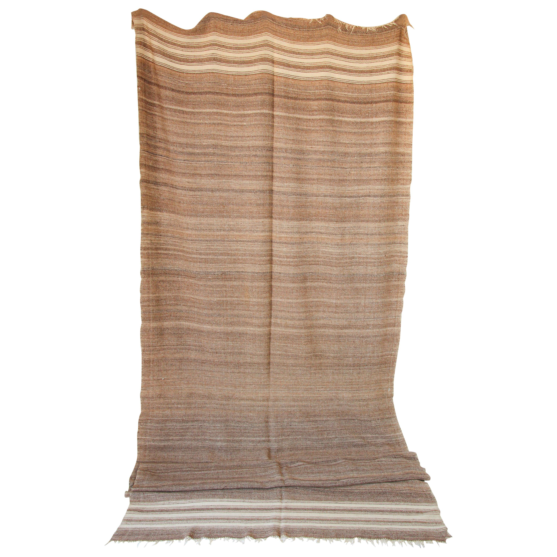 Moroccan Vintage Flat-Weave Brown Tribal Organic Textile