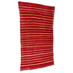 Moroccan Vintage Flat-Weave Ethnic Textile Rug