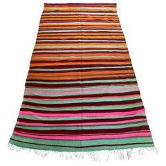 Moroccan Vintage Flat-Weave Kilim Rug North Africa