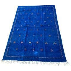 Moroccan Vintage Flat-Weave Majorelle Cobalt Blue Kilim Rug