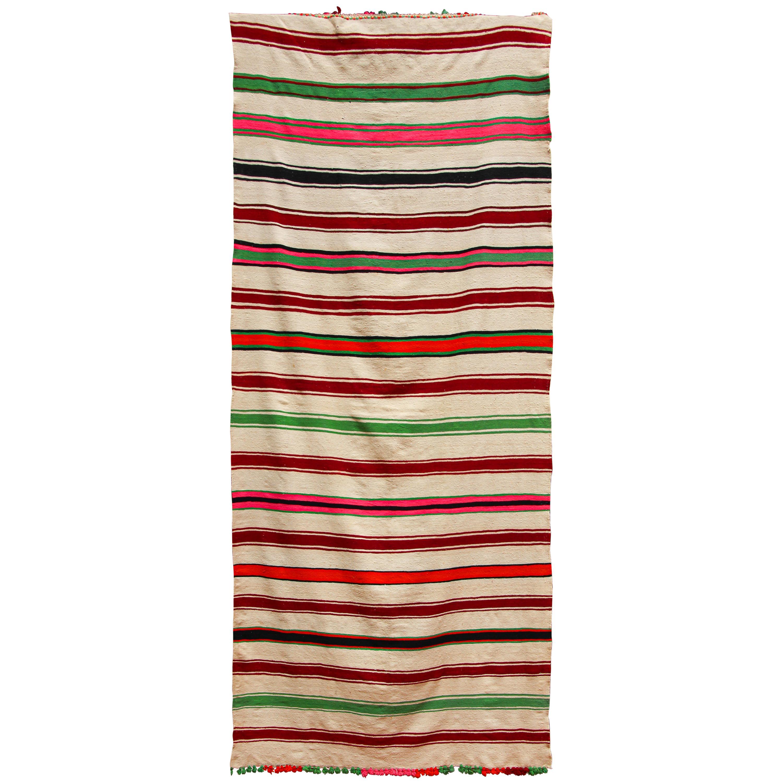 Moroccan Vintage Flat-Weave Rug, Ethnic Textile Handira