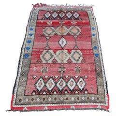 Moroccan Vintage Hand-Woven Boujad Tribal Rug, circa 1960