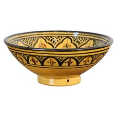 Moroccan Vintage Handcrafted Ceramic Yellow Bowl