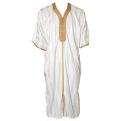 Moroccan Vintage Kaftan with Gold Trim, circa 1970