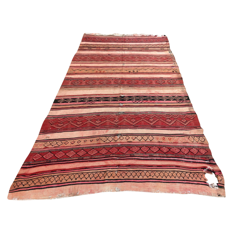 Moroccan Vintage Kilim Tribal Rug, circa 1960's