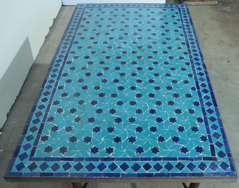 Moroccan Vintage Mosaic Blue Tile Rectangular Coffee Table For Sale 3