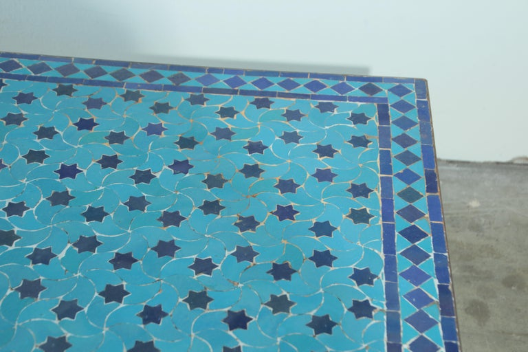 Moroccan Vintage Mosaic Blue Tile Rectangular Coffee Table For Sale 4