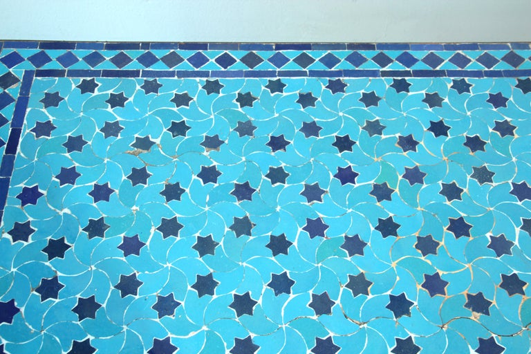 Moroccan Vintage Mosaic Blue Tile Rectangular Coffee Table For Sale 5