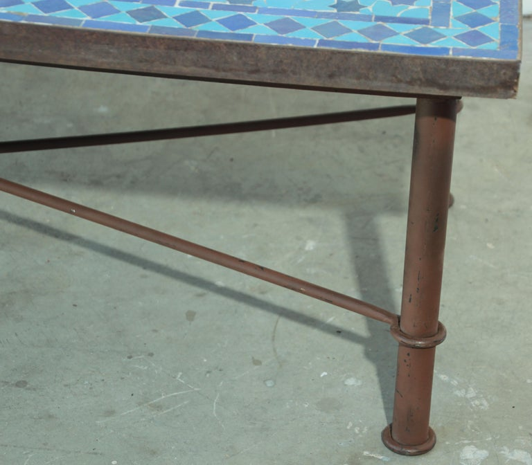 Moroccan Vintage Mosaic Blue Tile Rectangular Coffee Table For Sale 10