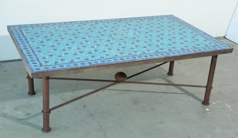 Moorish Moroccan Vintage Mosaic Blue Tile Rectangular Coffee Table For Sale