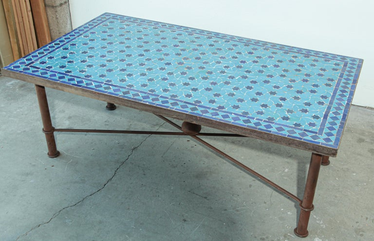 Hand-Crafted Moroccan Vintage Mosaic Blue Tile Rectangular Coffee Table For Sale