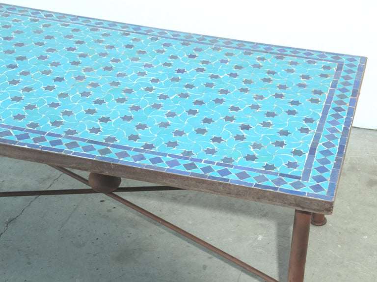 Moroccan Vintage Mosaic Blue Tile Rectangular Coffee Table In Good Condition For Sale In North Hollywood, CA