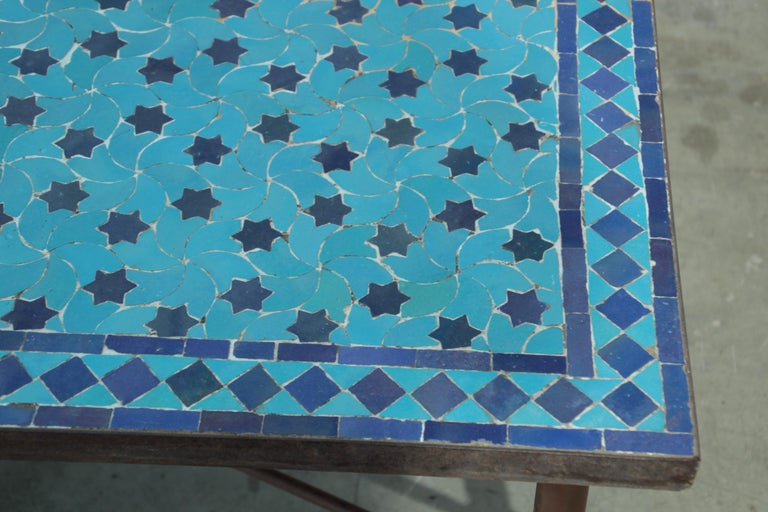 20th Century Moroccan Vintage Mosaic Blue Tile Rectangular Coffee Table For Sale