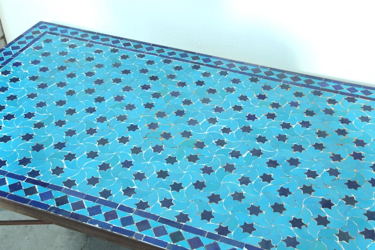 Iron Moroccan Vintage Mosaic Blue Tile Rectangular Coffee Table For Sale