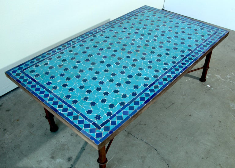 Moroccan Vintage Mosaic Blue Tile Rectangular Coffee Table For Sale 1