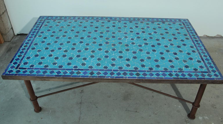 Moroccan Vintage Mosaic Blue Tile Rectangular Coffee Table For Sale 2