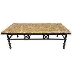 Moroccan Vintage Mosaic Brown Tile Rectangular Coffee Table