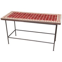 Moroccan Vintage Mosaic Red Tile Rectangular Side Table