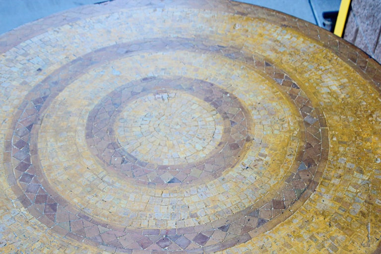 Moroccan Vintage Mosaic Stone Inlaid Table Indoor or Outdoor For Sale 7