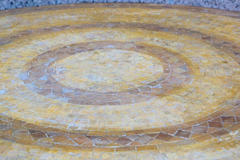 20th Century Moroccan Vintage Mosaic Stone Inlaid Table Indoor or Outdoor For Sale