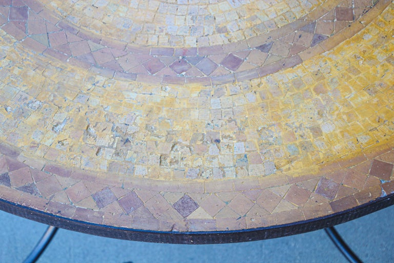 Moroccan Vintage Mosaic Stone Inlaid Table Indoor or Outdoor For Sale 1