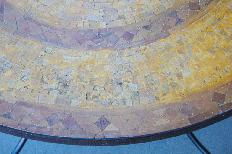 Moroccan Vintage Mosaic Stone Inlaid Table Indoor or Outdoor For Sale 2