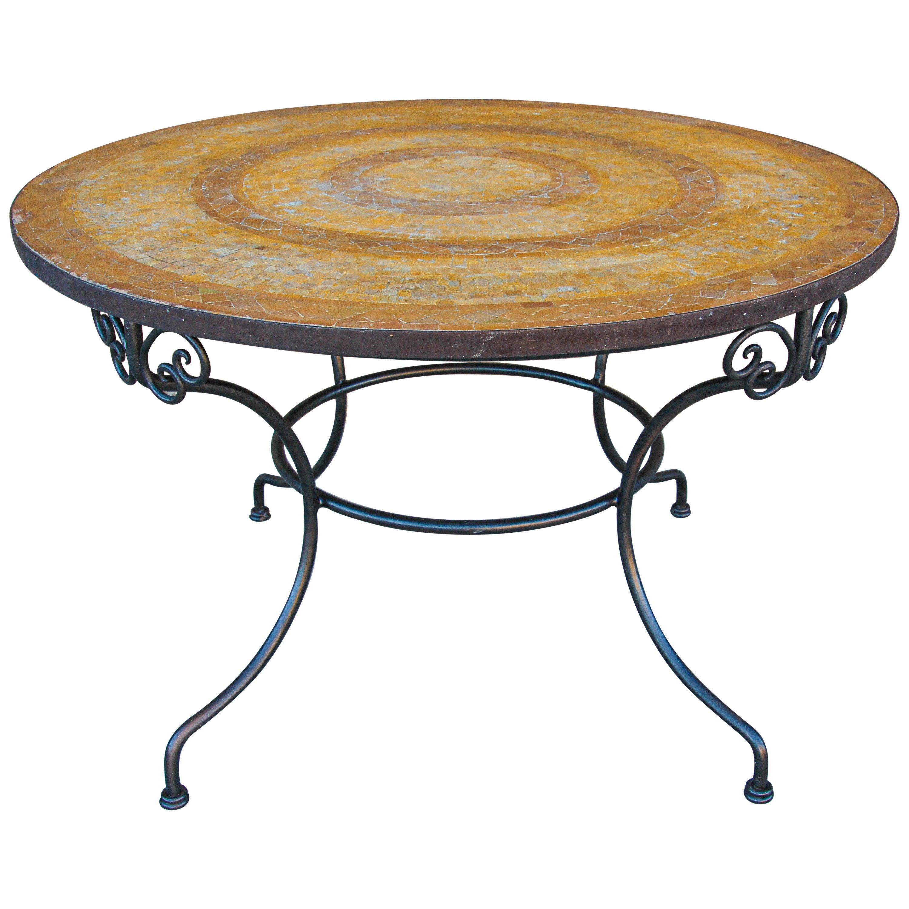 Moroccan Vintage Mosaic Stone Inlaid Table Indoor or Outdoor