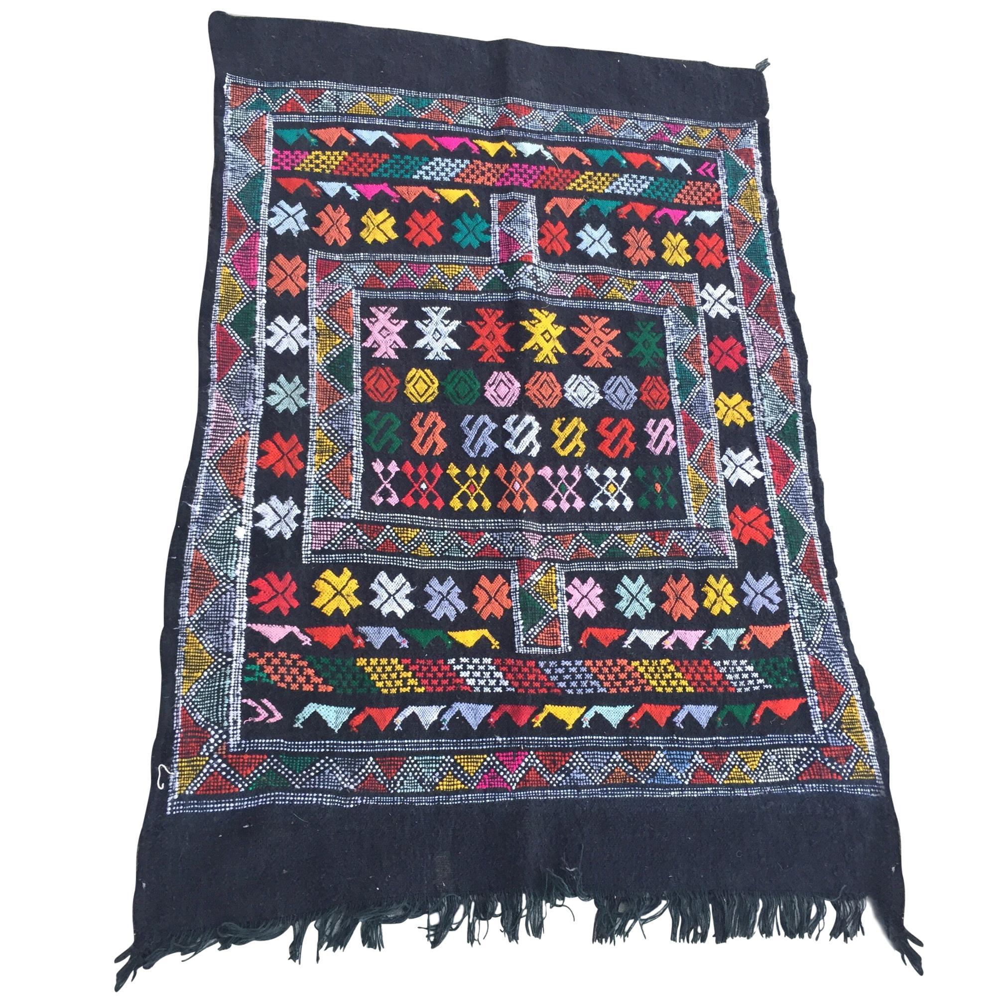 Moroccan Vintage North African Black Tribal Kilim Rug