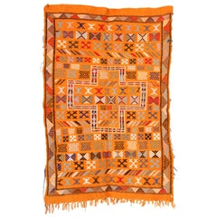 Moroccan Vintage North African Orange Tribal Kilim Rug