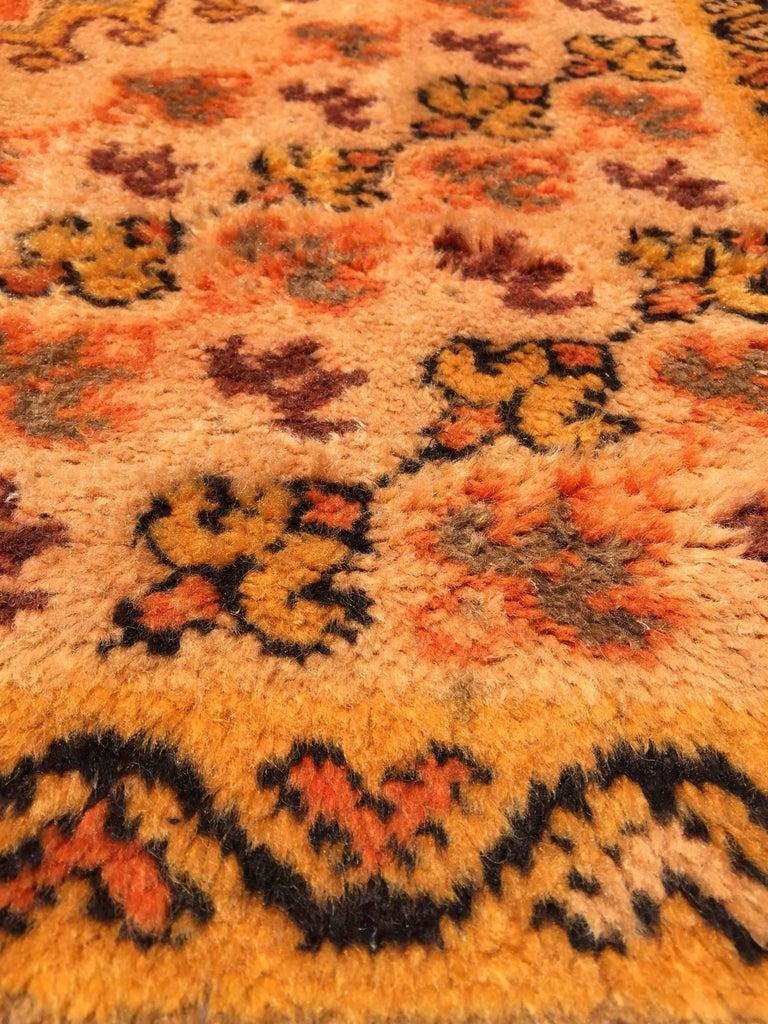 Moroccan Vintage Orange Color Tribal African Pile Rug For Sale 4