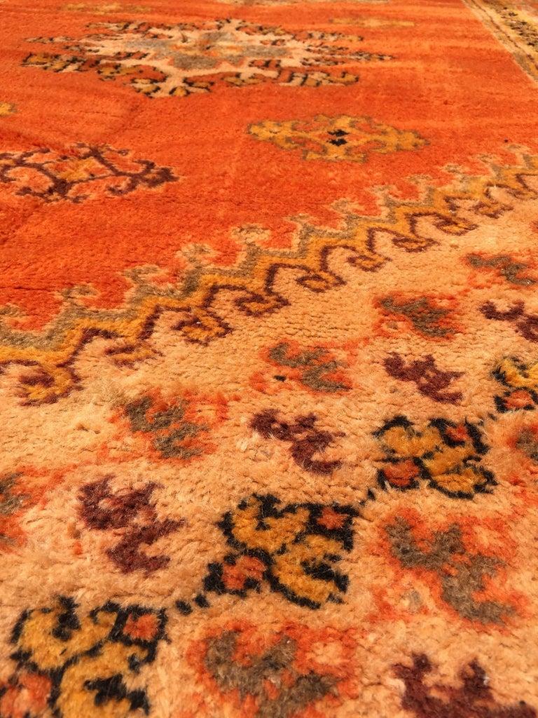 Moroccan Vintage Orange Color Tribal African Pile Rug For Sale 5