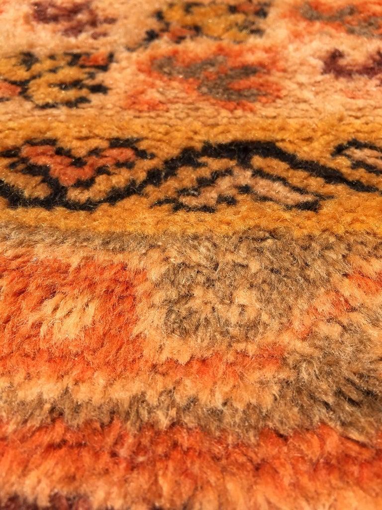 Moroccan Vintage Orange Color Tribal African Pile Rug For Sale 6