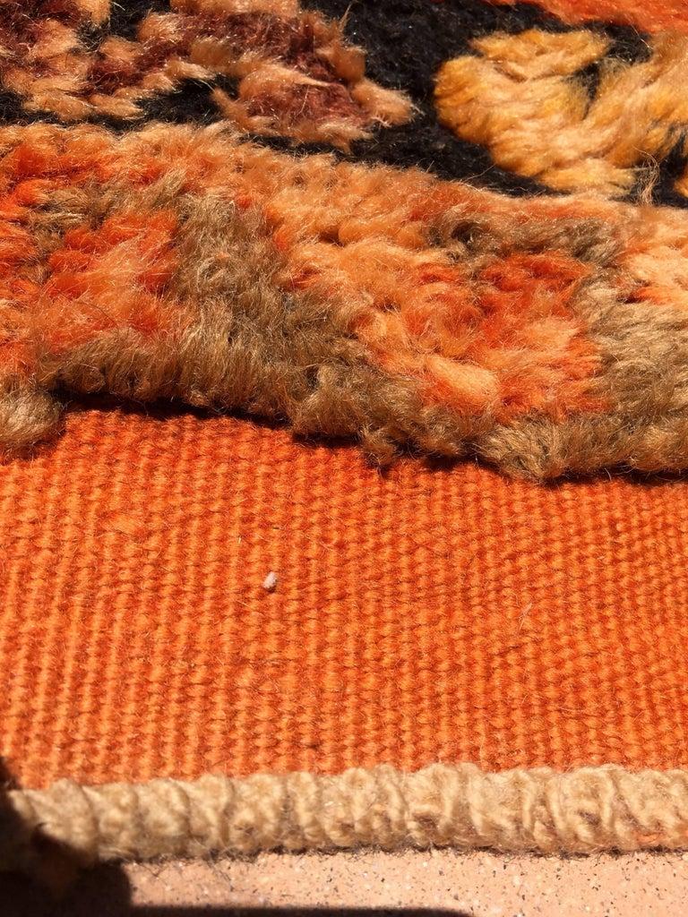 Moroccan Vintage Orange Color Tribal African Pile Rug For Sale 7
