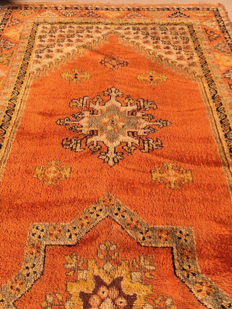 Moroccan Vintage Orange Color Tribal African Pile Rug For Sale 8