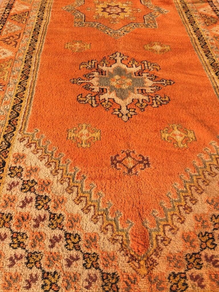 Moroccan Vintage Orange Color Tribal African Pile Rug For Sale 9
