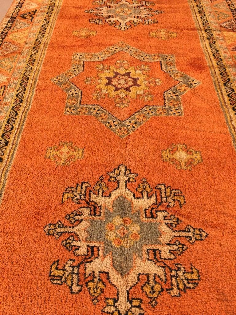 Moroccan Vintage Orange Color Tribal African Pile Rug For Sale 10