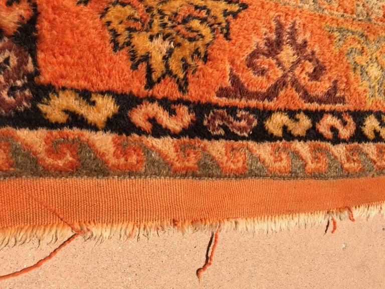 Moroccan Vintage Orange Color Tribal African Pile Rug For Sale 11