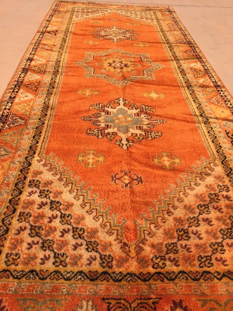 Vegetable Dyed Moroccan Vintage Orange Color Tribal African Pile Rug For Sale