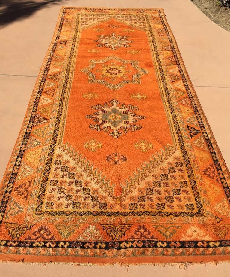 Moroccan Vintage Orange Color Tribal African Pile Rug In Good Condition For Sale In North Hollywood, CA