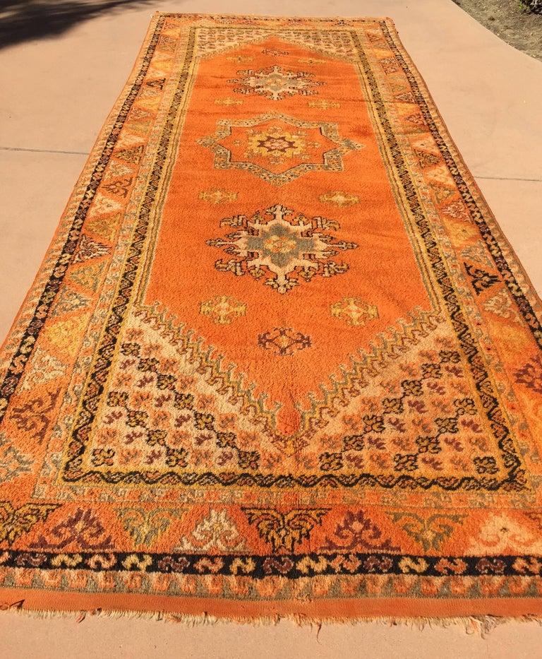 20th Century Moroccan Vintage Orange Color Tribal African Pile Rug For Sale